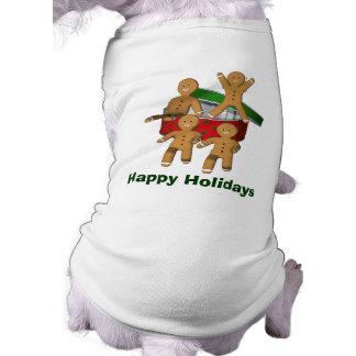 Lebkuchen-Mann-Weihnachtsfeiertags-Hundeshirt Ärmelfreies Hunde-Shirt