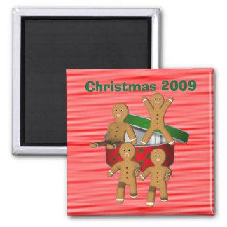 Lebkuchen-Mann-Weihnachtsfeiertags-lustiger Magnet Quadratischer Magnet