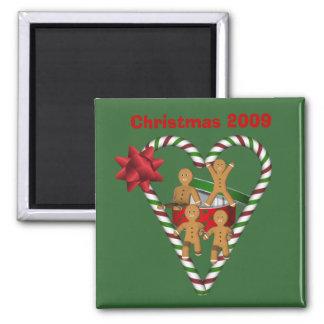 Lebkuchen-Mann-Weihnachtsfeiertags-Magnet Quadratischer Magnet