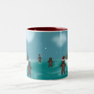 Lebkuchen-Mann-Winter-Szene Zweifarbige Tasse