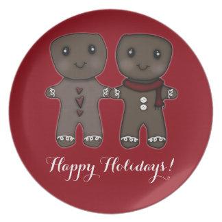 Lebkuchen-Männer ~ frohe Feiertage! Flache Teller