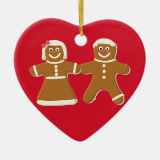Lebkuchen-Paare auf roter Keramik Herz-Ornament