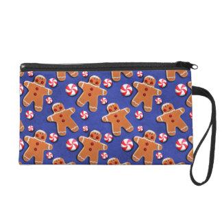 Lebkuchen-Plätzchen-Süßigkeiten blau Wristlet Handtasche