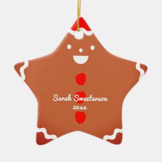 Lebkuchenmann-Stern Weihnachtsplätzchenverzierung Keramik Ornament