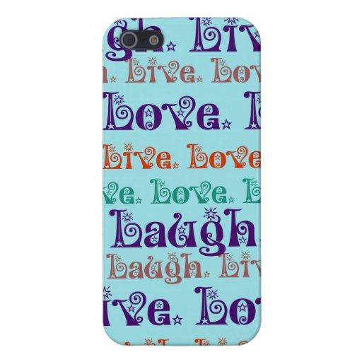 Lebt Lachen-Liebe-aufmunternde Wort-aquamarines Bl iPhone 5 Schutzhülle
