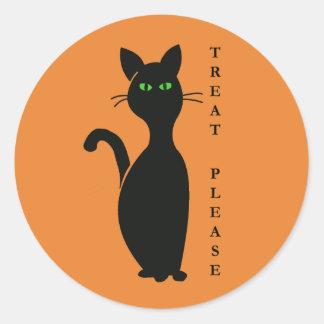 Leckereien gefallen Katze Runder Aufkleber
