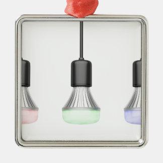 LED-Birnen mit verschiedenen Farben Silbernes Ornament