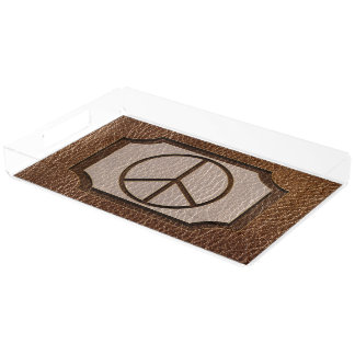 Leder-Blick Frieden Brown Acryl Tablett