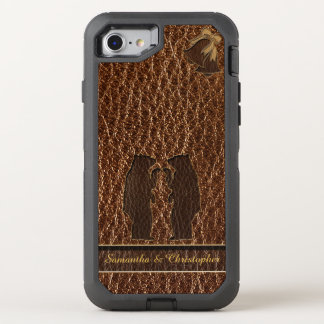 Leder-Blick Hochzeit OtterBox Defender iPhone 8/7 Hülle