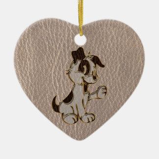 Leder-Blick Hund weich Keramik Ornament