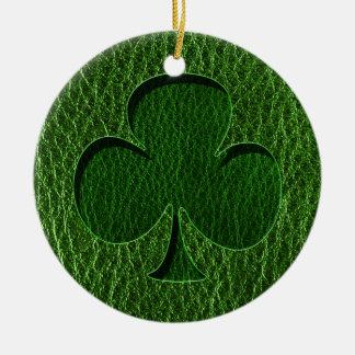 Leder-Blick Iren-Klee Keramik Ornament