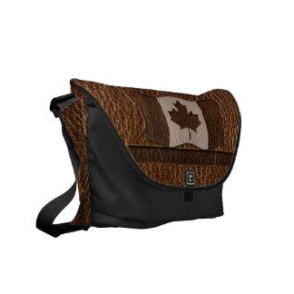 Leder-Blick Kanada-Flagge Kurier Tasche