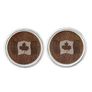 Leder-Blick Kanada-Flagge Manschetten Knöpfe