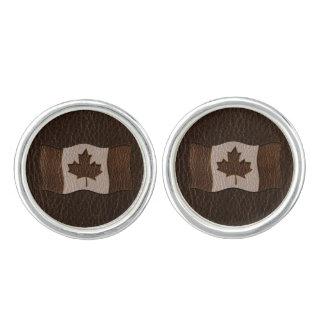 Leder-Blick Kanada-Flaggen-Dunkelheit Manschetten Knöpfe