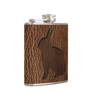 Leder-Blick Kaninchen Flachmann