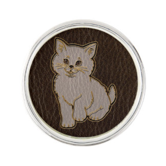 Leder-Blick Kätzchen-Dunkelheit Anstecknadel