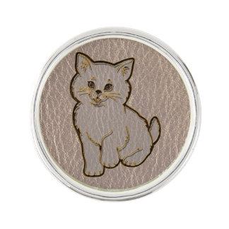 Leder-Blick Kätzchen weich Anstecknadel