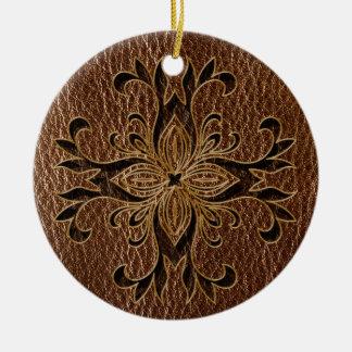 Leder-Blick Stern Keramik Ornament