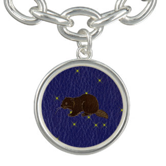 Leder-Blick Ureinwohner-Tierkreis-Biber Charm Armband