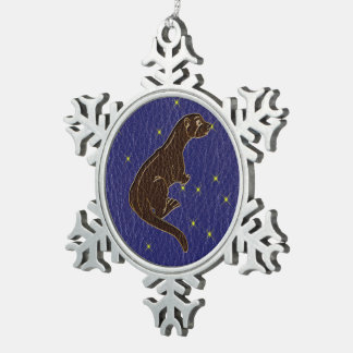 Leder-Blick Ureinwohner-Tierkreis-Otter Schneeflocken Zinn-Ornament