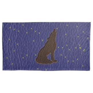 Leder-Blick Ureinwohner-Tierkreis-Wolf Kissen Bezug