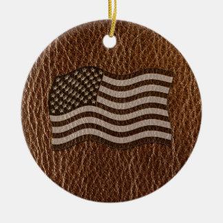 Leder-Blick USA-Flagge Keramik Ornament
