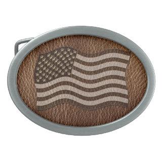 Leder-Blick USA-Flagge Ovale Gürtelschnallen