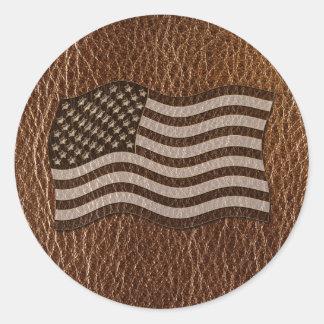 Leder-Blick USA-Flagge Runder Aufkleber