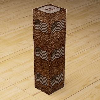 Leder-Blick USA-Flagge Weinbox