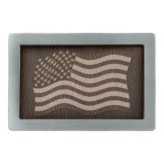 Leder-Blick USA-Flaggen-Dunkelheit Rechteckige Gürtelschnalle