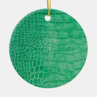 Leder grüner Kroko Keramik Ornament