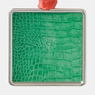 Leder grüner Kroko Silbernes Ornament