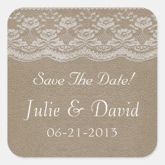Leder u. Spitze, die Save the Date Wedding sind Quadratsticker