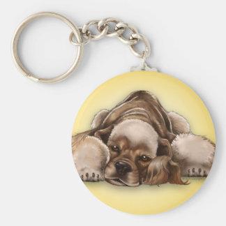 Lederfarbener Cockerspaniel-Hund Keychain Schlüsselanhänger
