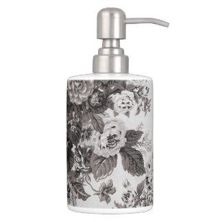 Lederfarbener grauer Taupe Vintages BlumenToile Badset