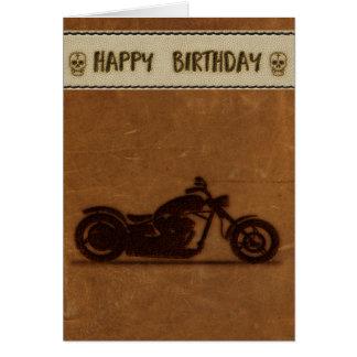 Lederne Effektradfahrer-Geburtstagskarte Karte