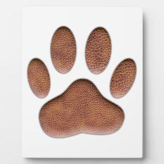 Lederner Beschaffenheits-Hundetatzen-Druck Fotoplatte