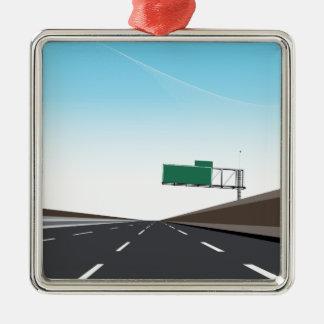Leere Autobahn Quadratisches Silberfarbenes Ornament