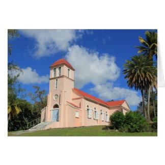 Leere Karte mit historischer Kirche in Antigua