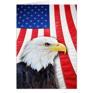Leere Karte, Weißkopfseeadler und Flagge Grußkarte