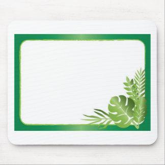 Leere Schablone des grünen tropischen Blätter Mousepad