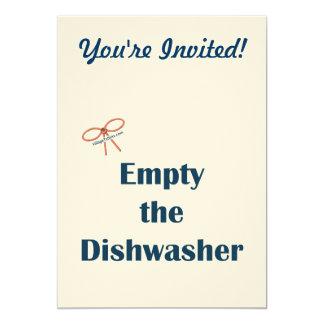Leeren Sie die Spülmaschinen-Erinnerungen 12,7 X 17,8 Cm Einladungskarte