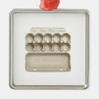 Leerer Eikarton Quadratisches Silberfarbenes Ornament