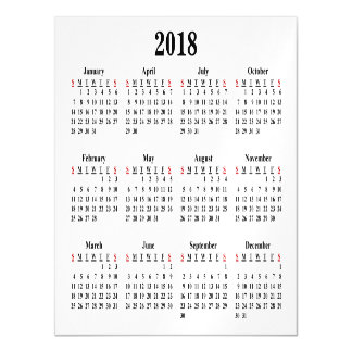 Leerer Kalender 2018 Magnetische Karte