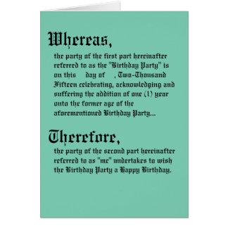 Legale Vertrags-Geburtstags-Karte Karte