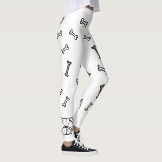 Leggings with english Bulldogge and bones pattern
