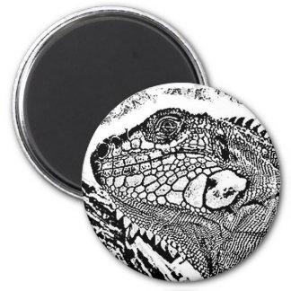 Leguan black/white runder magnet 5,1 cm