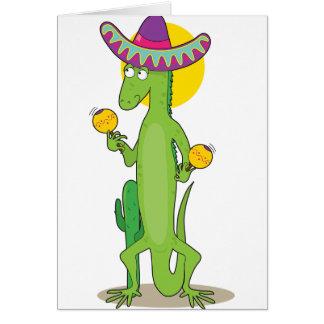 Leguan in ein Sombrero-den Mitteilungskarten Mitteilungskarte