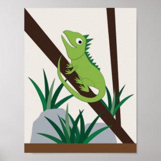 Leguan-Kinderzimmer-Kunst Poster