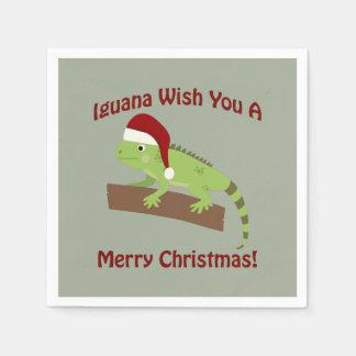 Leguan-Wunsch Sie frohen Weihnachten Serviette